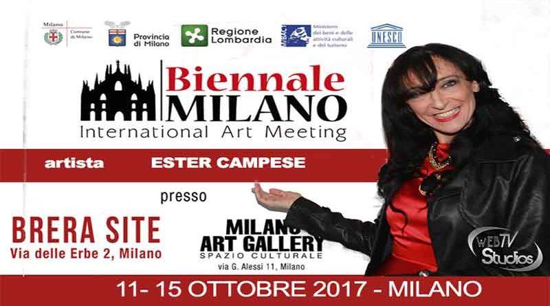 Alla Biennale Milano, presentata da Vittorio Sgarbi, premio ai meriti artistici ad Ester Campese